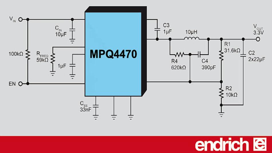 Endrich vertreibt den synchronen Schaltregler MPQ4470 von MPS.