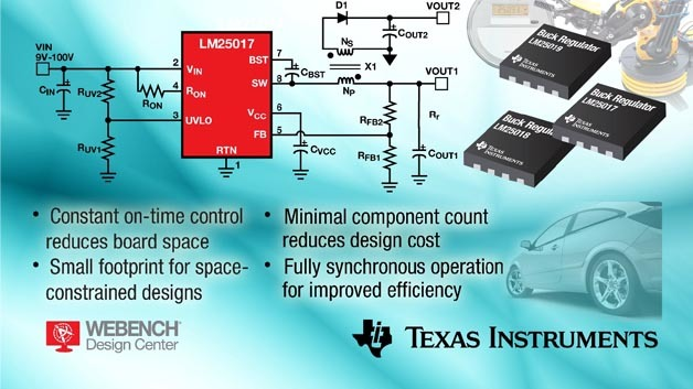 Basieren auf der Constant-On-Time-Architektur: Texas Instruments 48-V-Spannungsregler für Stromversorgungen mit einem oder mehreren Ausgängen.
