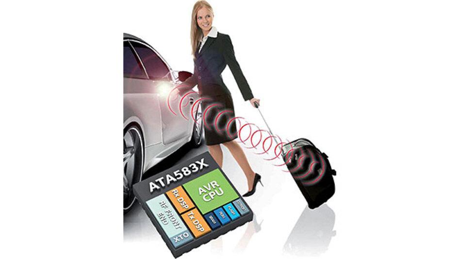 Bild 1. Die ATA583X-Familie ist zugeschnitten auf stromsparende Anwendungen im Automotive--Bereich, speziell für Smart-RF- und Keyless-Entry-Konzepte. Pluspunkt: hohe Reichweite.