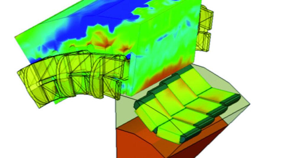 Elektromagnetische Feldsimulation einer permanentmagneterregten Synchronmaschine.