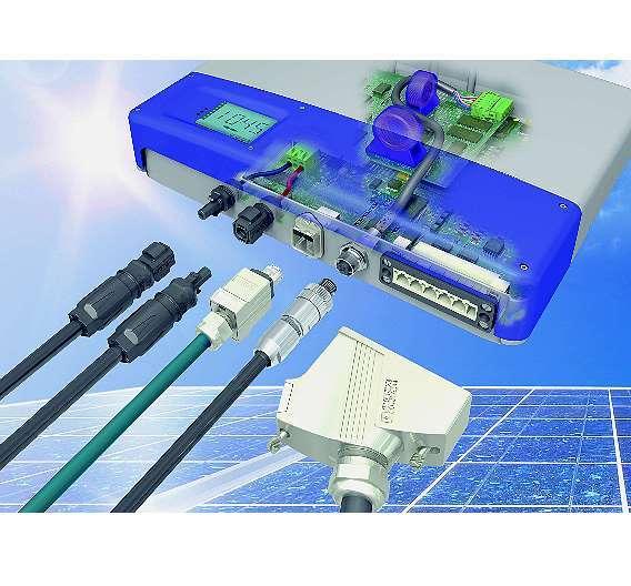 Bild 1: Für die sichere Übertragung von Signalen, Daten und Leistung im Photovoltaikbereich werden unterschiedliche Steckverbinder und Gehäusedurchführungen benötigt - eine geeignete Anschlusstechnik erhöht die Produktivität einer Anlage deutlich