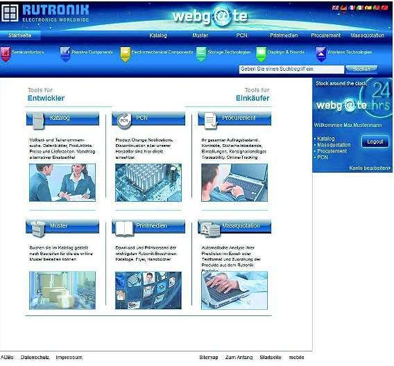 Bild 1: Mit dem »webg@te«-Portal will Rutronik Entwickler und Einkäufer kleiner und mittlerer Unternehmen nun ebenfalls unterstützen