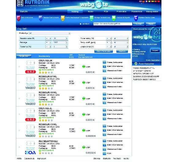 Bild 2: Eine Suchmöglichkeit über die Eingabe von technischen Parametern zeigt geeignete Produkte aus dem Portfolio des Distributors
