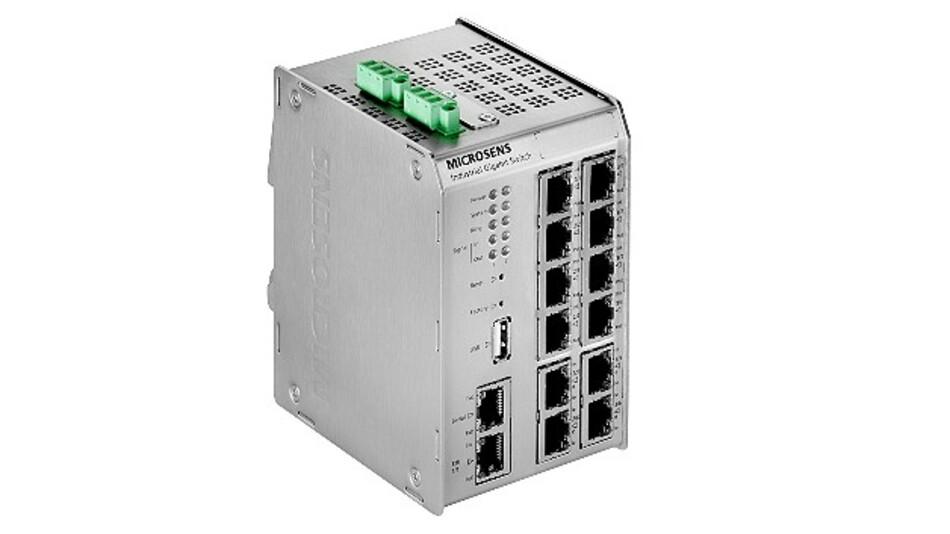 Schon das Basismodul der Gigabit-Ethernet-Switch-Serie »Profi Line Modular« von Microsens bietet 13 Gigabit-Ports.