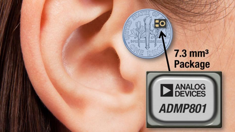 Das ADMP801 soll in Hörgeräten zum Einsatz kommen.
