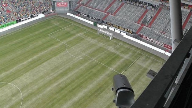 Den Ball im Visier: Eine im Stadion installierte, zum System »GoalControl-4D« gehörige Kamera