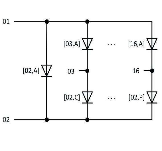 Bild 3: Parallele Pfade in einer Charlieplexing-Matrix