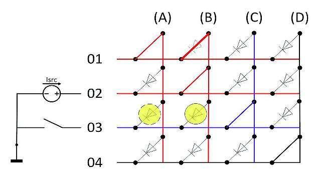 Bild 4: »Charlieplexed«-Dot-Matrix mit Kurzschluss