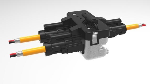 Wasserdichte und elektromagnetisch geschirmte HVR40-Power Splitter für zuverlässige Verbindungen im Hochvolt-Bordnetz.