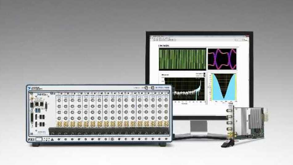 Mit 10 Bit Vertikalauflösung und bis zu 5 GSample/s Abtastrate wartet der Digitizer NI PXIe-5162 von National Instruments auf