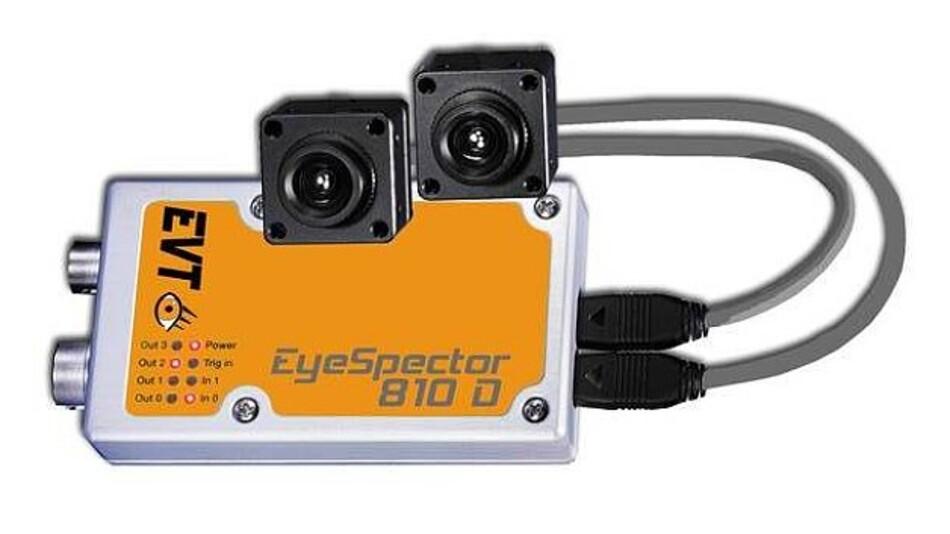 Mit zwei Sensorköpfen ausgestattet ist die intelligente Stereokamera »EyeSpector 810D« von EVT Eye Vision Technology.