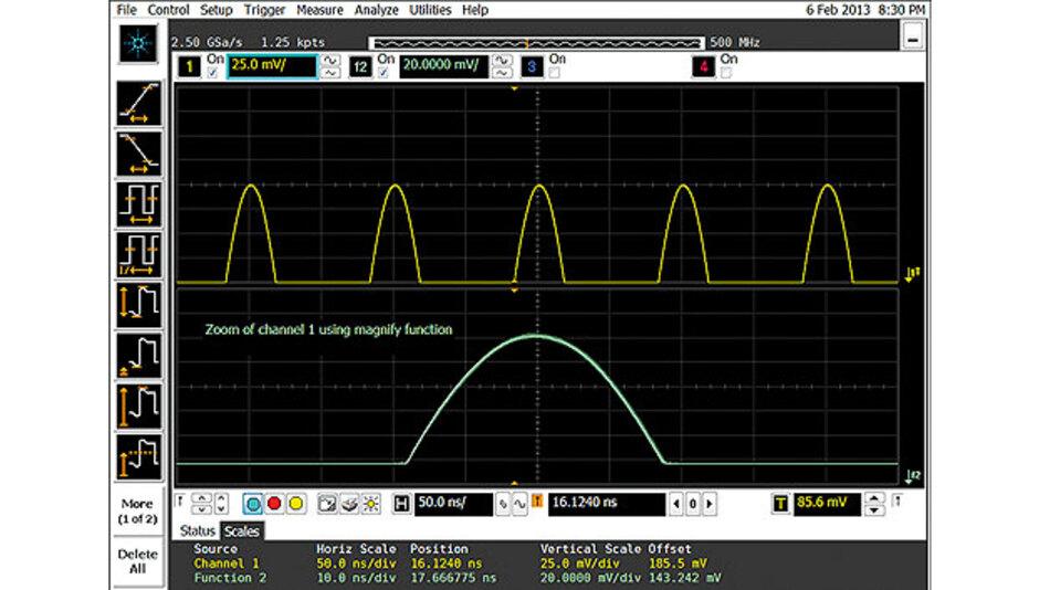 Bild 2. In diesem Beispiel eines DSO Agilent Infiniium 9104A mit einer Dynamikbereichs-Einstellung von ±8 Teilstrichen verschob der Anwender das Signal um vier Teilungen aus der Mitte. Das Ergebnis ist eine doppelt so hohe Auflösung im Vergleich zu der Einstellung, mit der das Signal exakt den gesamten Bildschirm einnimmt.