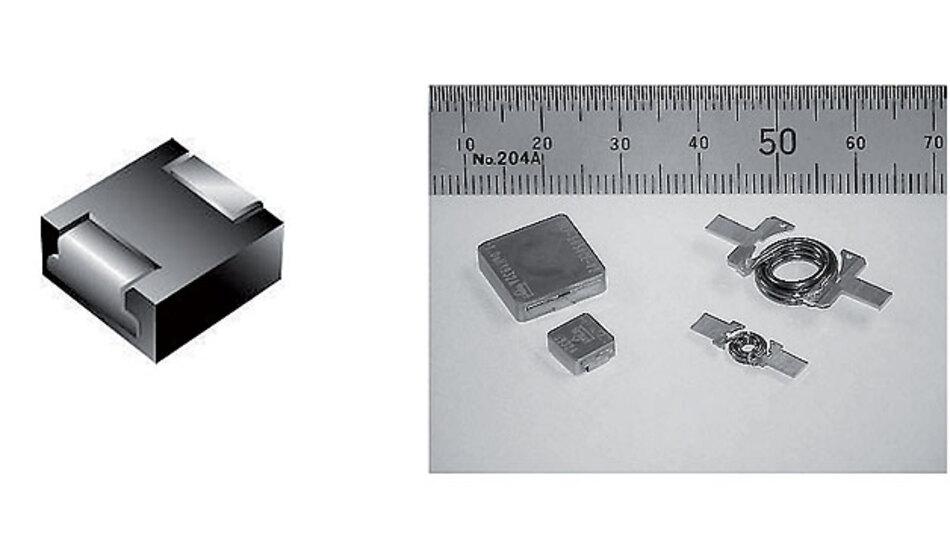 Bild 2. Beispiel für eine Hochstrom-Induktivität (links) mit dem inneren Aufbau (rechts).
