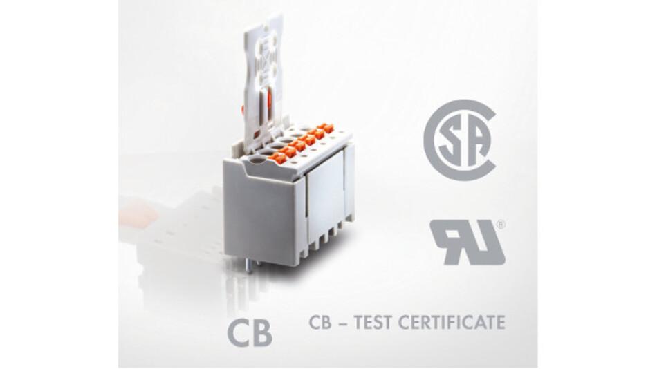 Zertifiziert gemäß UL 1059, UL 1977, CB und CSA: Das Picomax-Steckverbindersystem ist für den weltweiten Einsatz geeignet.