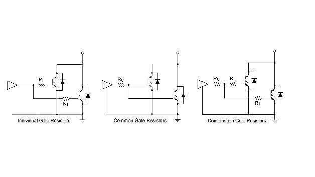 Bild 4: Schaltkreise mit verschiedenen Gate-Widerstandsoptionen