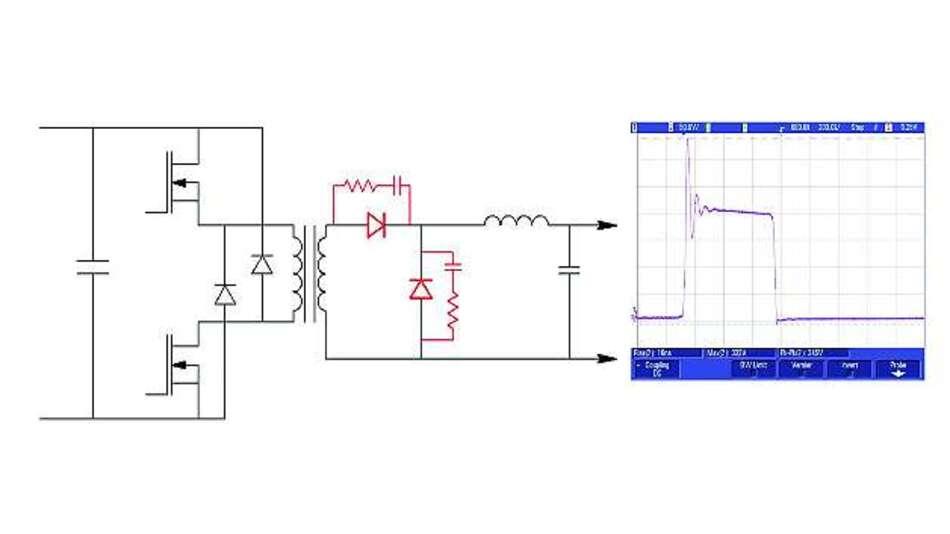 Bild 2: Ausgangsgleichrichter eines DC/DC-Wandlers (300-V-Fast-Recovery-Dioden mit einem Snubber-Netzwerk mit 220pF in Serie mit 33Ω)