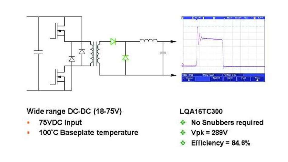 Bild 5: 300-V-Qspeed-Dioden reduzieren das Überschwingen in der Ausgangsgleichrichterschaltung