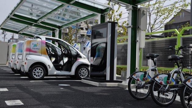 Ladestation für Elektroautos und  -fahrräder.