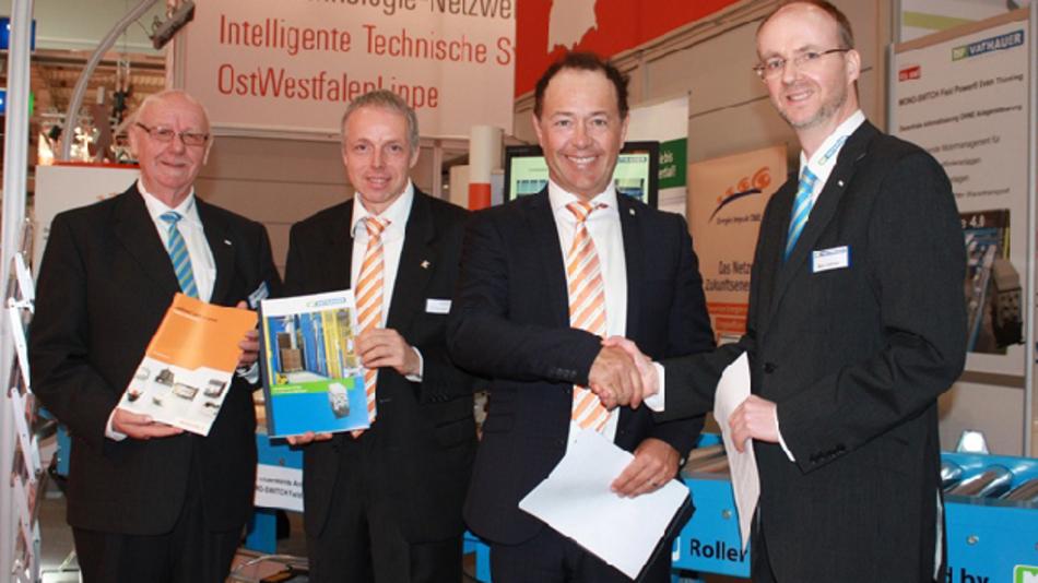 (von links nach rechts: Karl-Ernst Vathauer, Geschäftsführung MSF-Vathauer, Ulrich Trapp und Michael Beronius  Weidmüller, Marc Vathauer, Geschäftsführung MSF-Vathauer)