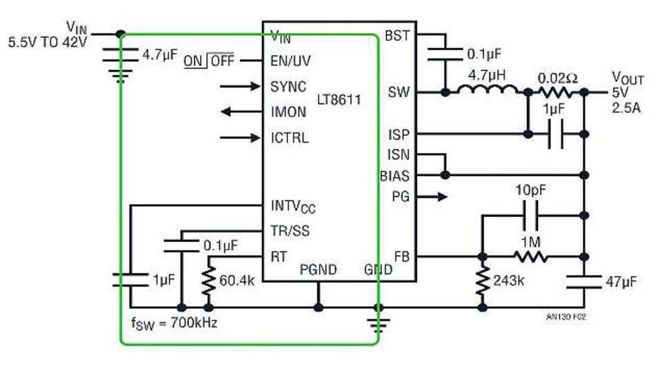 Bild 2: Der Abwärtswandler »LT8611« hat zwei interne Schalter, sodass man sich nur um die Verbindung zum Eingangskondensator kümmern muss