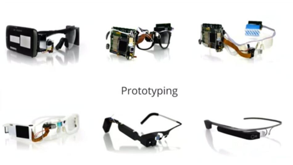So sahen sie aus: Googles erste Versuche in Sachen Computerbrille. Ab der dritten Version (oben rechts) erstellte man die Gehäuse selbst - im 3D-Druck-Verfahren.