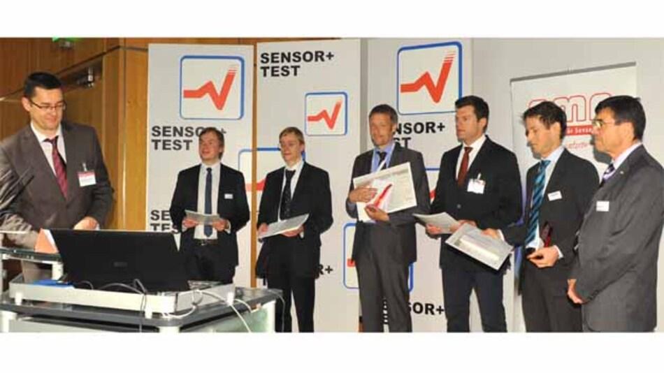 Vlnr: Prof. Dr. A. Schütze (Jurivorsitzender), H. Faustmann (SENSACTION), Dr. G. Grau (advico), Dr. C. Rembe (Polytec), M. Steffanson (TU Ilmenau), Dr. B. Fischer (Xarion), W. Wiedemann (Vorstandsvorsitzender AMA Fachverband)