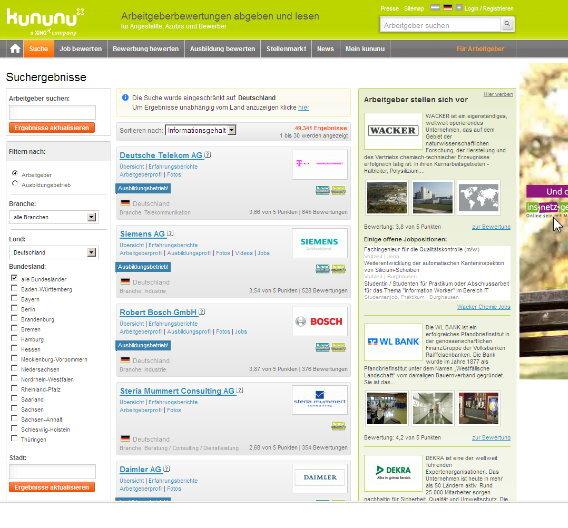Mehr als jeder dritte Internetnutzer aus dieser Altersgruppe (35 Prozent) hat schon einmal bei kununu.com, meinchef.de oder ähnlichen Angeboten vorbeigeschaut.
