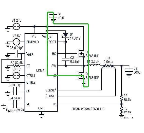 Bild 2: Typischer Tiefsetzsteller mit dem Controllerbaustein »LT3741« von Linear Technology; die grüne Schleife zeigt, wie der Gate-Strom für den MOSFET Q2 fließt