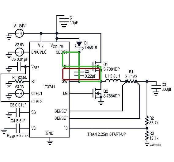 Bild 3: Die roten und grünen Schleifen zeigen die Gate-Treiberstromschleifen des oberen MOSFETs Q1; beide sind so klein wie möglich zu halten