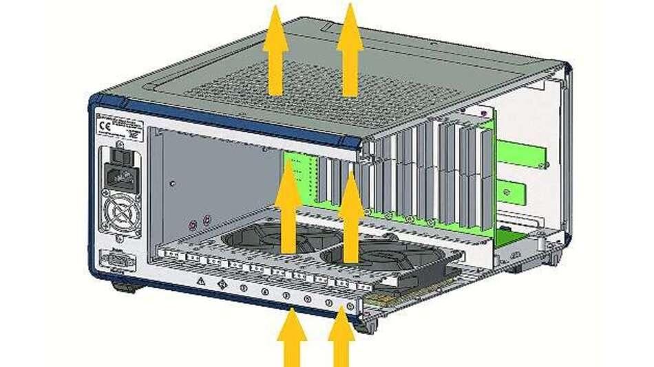 Bild 1: Luftströmung zwischen den beiden Lüftern ist vermindert