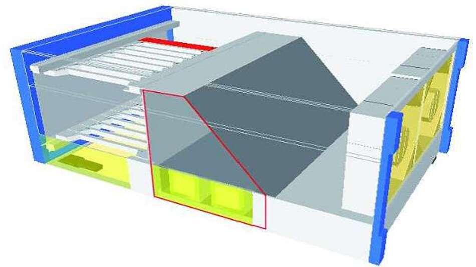 Bild 6: Die markierte trapezförmige Fläche kennzeichnet die Abschottung der Stromversorgung - ausgestattet mit eigenen Lüftern - vom Strömungspfad des PXI-/PXIe-Chassis