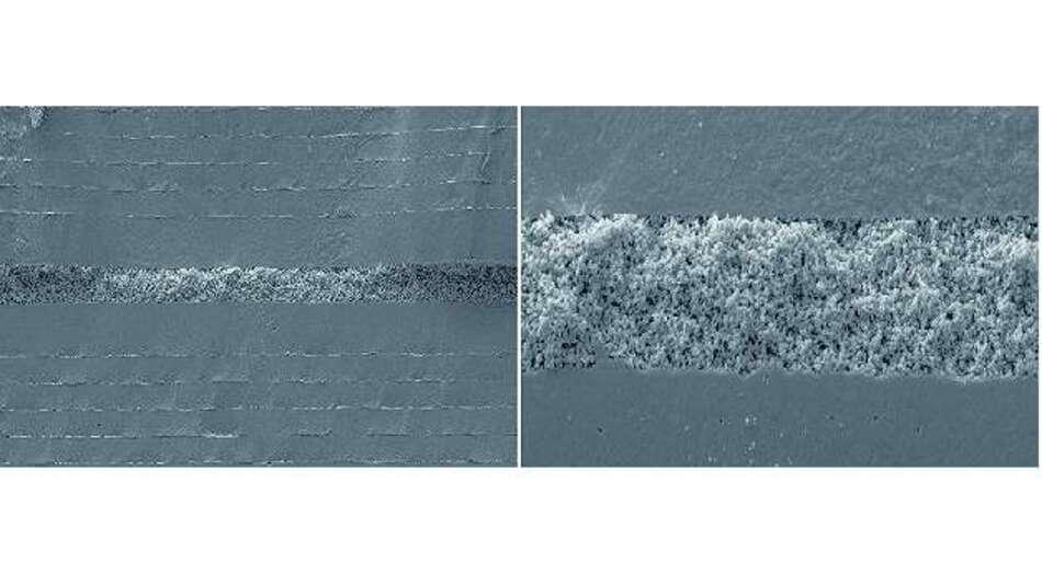 Bild 5: Diese Elektronenmikroskop-Aufnahmen eines Bauteilquerschnitts zeigen die »schwammartige« Schicht, die den mechanischen Stress im Kondensator absorbiert (rechts stärker vergrößert)