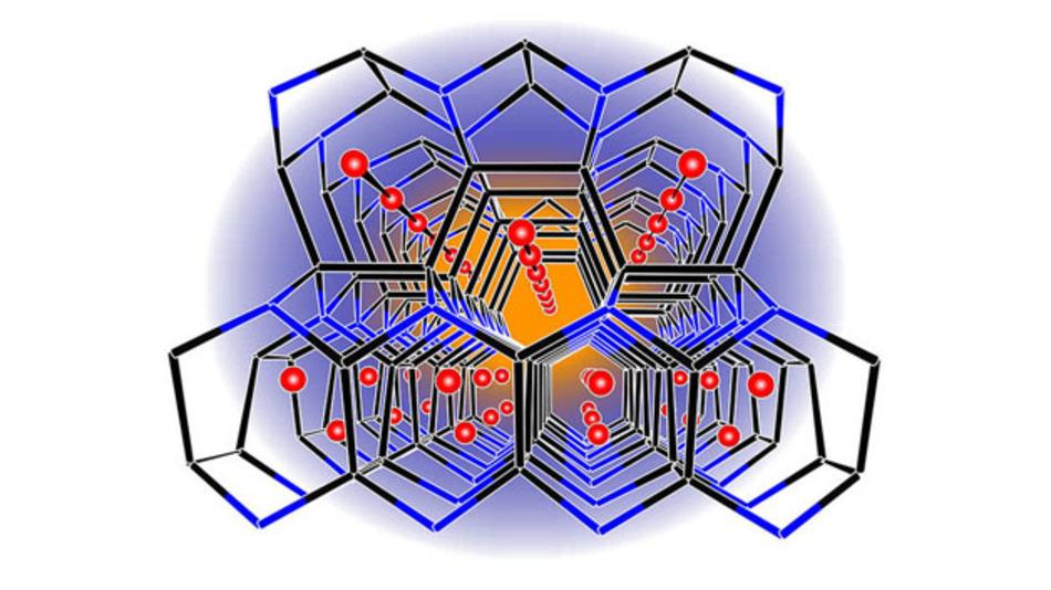 Die dreidimensionale Struktur des Lithium-Borsilicids. In den Tunneln können Lithium-Atome (rot) ein- und ausgelagert werden.
