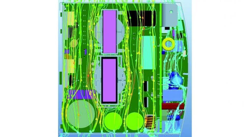 """Bild 2. Die Platzierung der Bauelemente in dem Hutschienen-Netzgerät erfolgte nach thermischen Vorgaben: Zwei """"Kanäle"""" ermögliche eine freie Durchströmung des Gehäuses, die """"kritischen"""" Bauelement wurden an die kälteste Region platziert, die Unterseite des Gehäuses."""