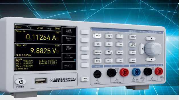Bei einer Grundgenauigkeit von 0,015 Prozent im DC-Bereich stellt das HMC8012 auf seinem TFT-Farbdisplay simultan bis zu drei Messgrößen dar - beispielsweise eine DC-Spannung, eine AC-Spannung und dazugehörende Statistik-Informationen.