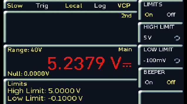 Dank des farbigen Displays können die neuen Hameg-Multimeter Grenzwerteinhaltungen bzw. –überschreitungen farbig anzeigen.