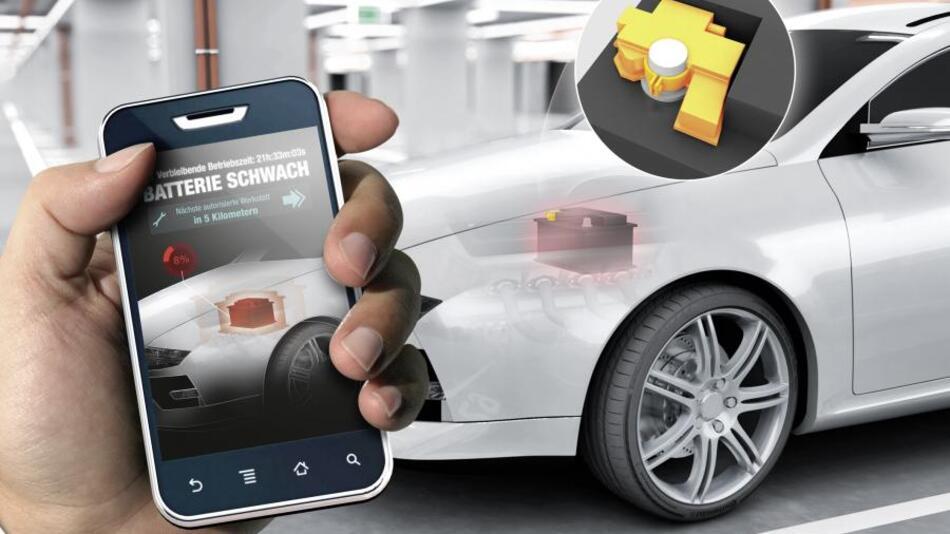 Zukünftig kann das Fahrzeug eine schwache Batterie selbst erkennen und dies dem Fahrer frühzeitig mitteilen, zum Beispiel per Smartphone-App.