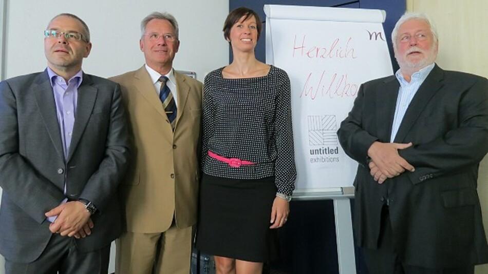 Das Untitled-Exhibitions-Team: Udo Weller (Geschäftsführender Gesellschafter), Wolfgang Tondasch (Berater), Tanja Waglöhner (Geschäftsführende Gesellschafterin) und Joseph Rath (Chairman). Es fehlt Chairman Dr. Michael Peters.
