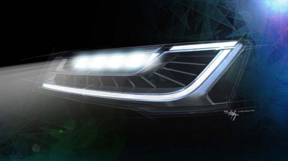 LED-Scheinwerfer ohne mechanische Schwenkelemente von Audi.