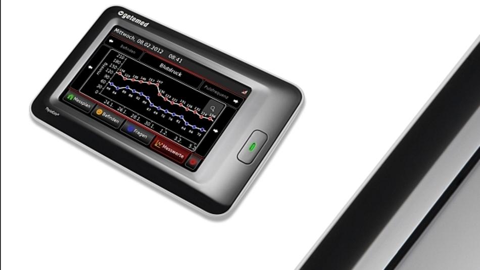 Die von der Firma Getemed entwickelte Telekommunikationsplattform PG 1000 wird via Touch Screen bedient