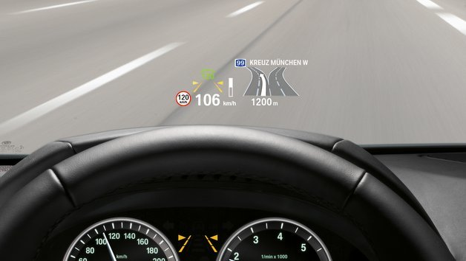 Head-up-Displays projizieren Informationen direkt ins Blickfeld des Fahrers.