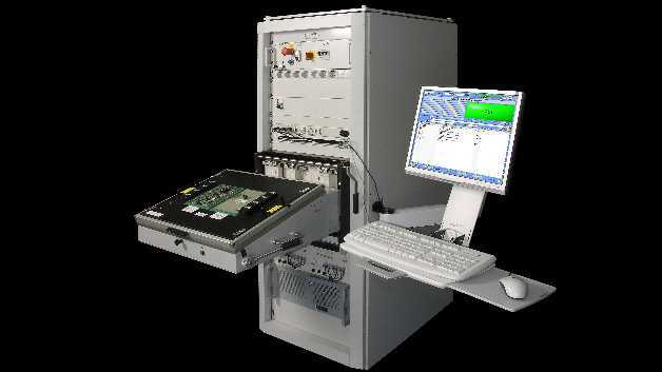 LEON Rack – Komplexer Boardtester auf ABex-Basis mit Testadapter an Virginia Panel Schnittstelle