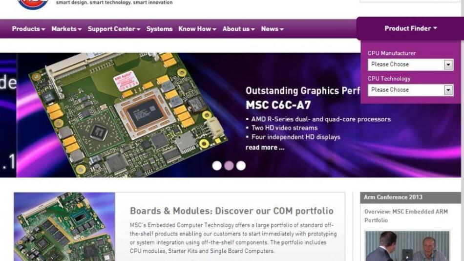 Website www.mscembedded.com beschreibt alle Board Level-Produkte des Bereichs Embedded Computer Technology (ECT) der MSC Vertriebs GmbH