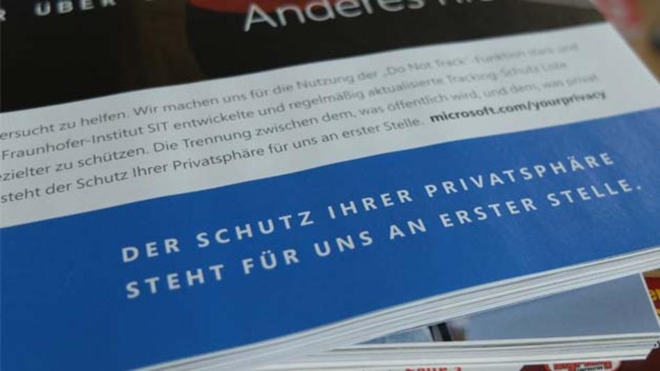Microsoft-Anzeige, gesehen in der Zeitschrift Cicero
