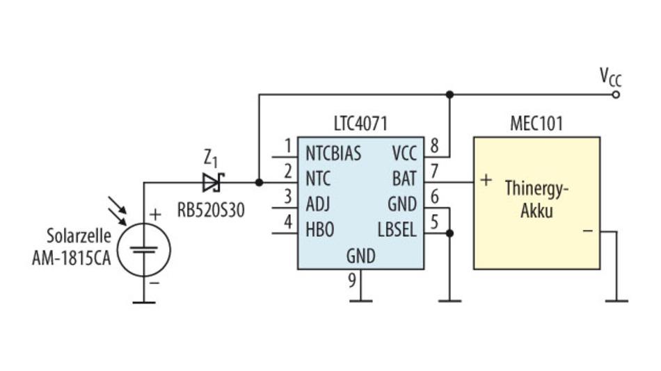 Bild 4. Einfacher geht es kaum, um mit Hilfe einer Solarzelle eine akkugepufferte Spannung für eine Applikation zu generieren.
