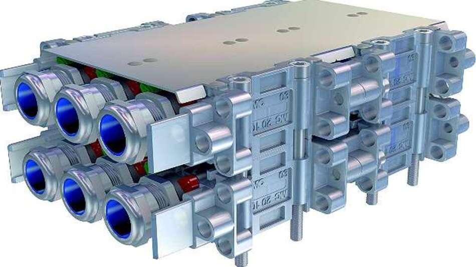 Bild 3: Universell in Schienenfahrzeugen einsetzbar ist der »Modular Power Connector MPC« von Multi-Contact