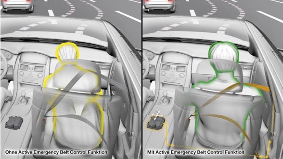 Die ContiGuard-Funktion Active Emergency Belt Control bereitet Fahrzeuginsassen und Fahrzeug optimal auf den Unfall vor, wenn dieser unvermeidbar ist.