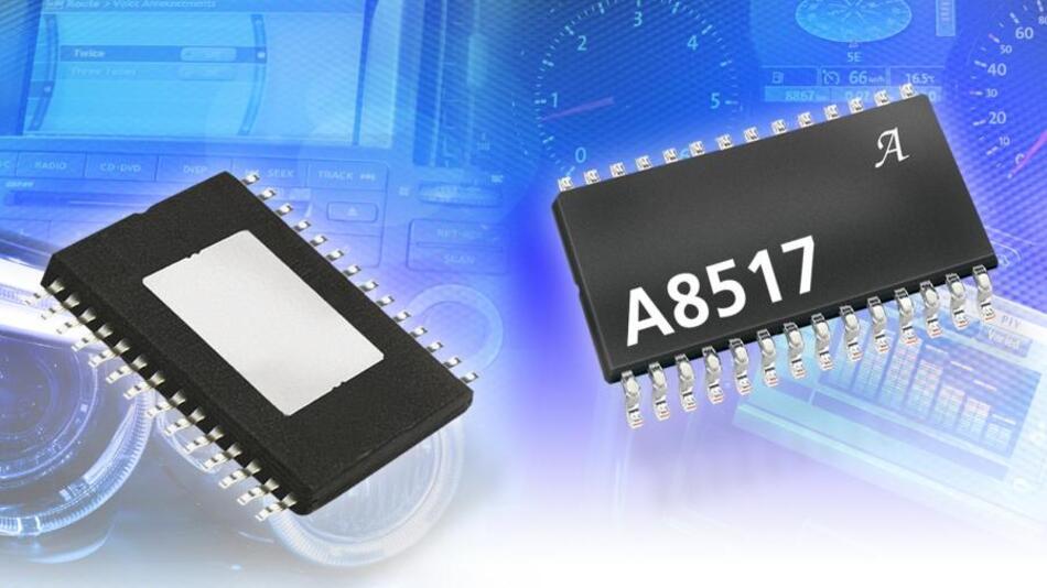 Der LED-Treiberbausteion A8517 integriert zehn Stromsenken, die mit jeweils 60 mA belastet und über eine I²C-Schnittstelle programmiert werden können.