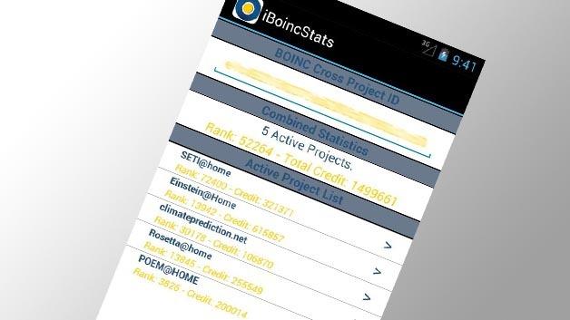 Konfigurationsseite der BOINC-App