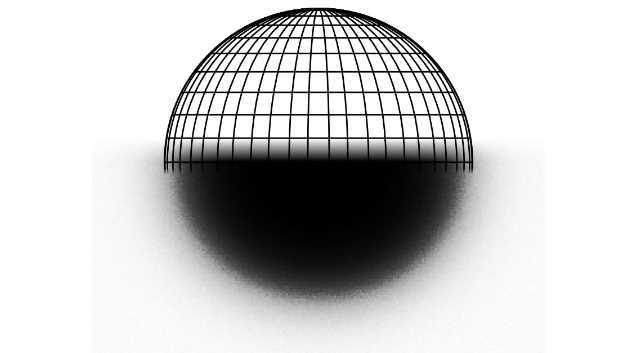Drahtkugel-Modell eines Partikels, das in seine modellierte Aufnahme im Rasterelektronenmikroskop übergeht. Das neue Messverfahren basiert auf einem mathematisch-physikalischen Modell der Wechselwirkung von Elektronen mit dem gemessenen Partikel. Die Berechnung des Detektorsignals am Computer sorgt für eine geringe Messunsicherheit an der Partikelkante.